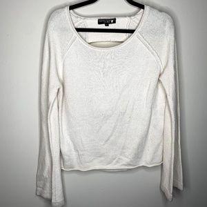 Central Park West White Knit Cutout Sweater M